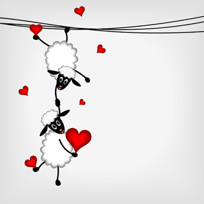 Two sheep and litle lamb hanging on washing line - vector illustration