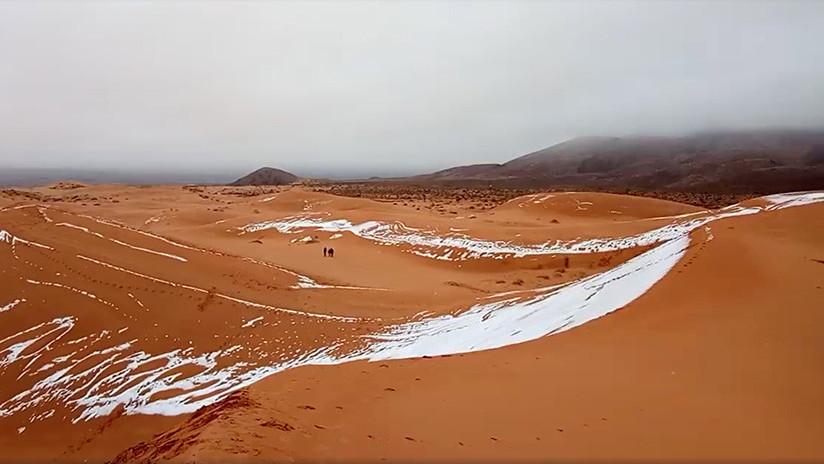 Insólito: El Sáhara se cubre de nieve por segunda vez este invierno (FOTOS)
