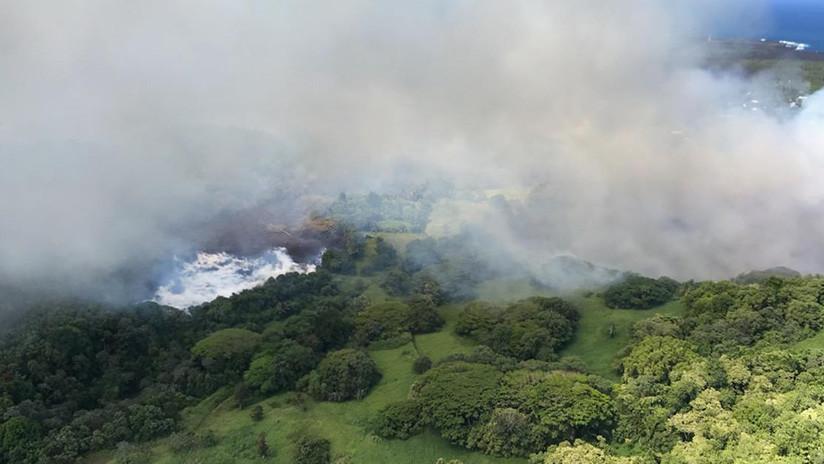 FOTO: La lava del Kilauea provoca que se evapore el lago más grande de Hawái
