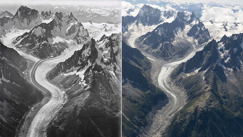 FOTOS: Imágenes aéreas evidencian el deshielo masivo del Mont Blanc en los últimos 100 años